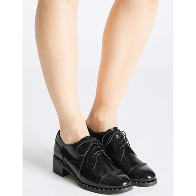 Wide Fit Leather Block Heel Brogue Shoes black