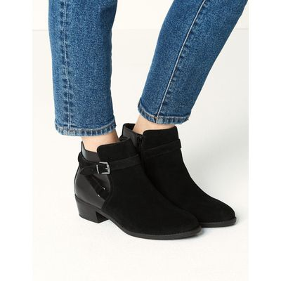 Wide Fit Leather Block Heel Ankle Boots black mix
