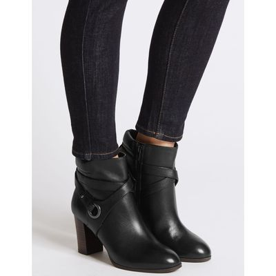 Wide Fit Leather Block Heel Ankle Boots black