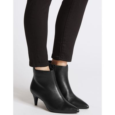Wide Fit Leather Kitten Ankle Boots black