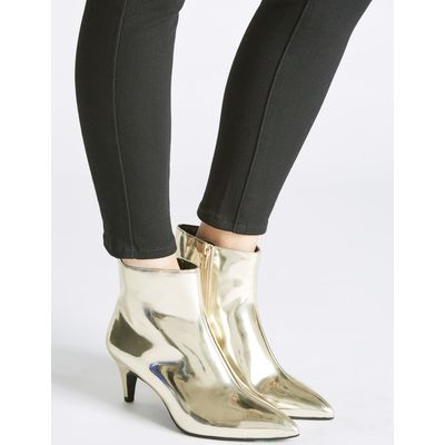 Wide Fit Leather Kitten Ankle Boots gold
