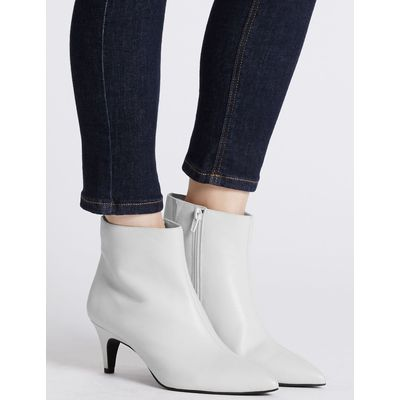 Wide Fit Leather Kitten Ankle Boots white