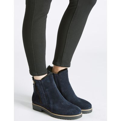 Wide Fit Leather Side Zip Fur Ankle Boots navy