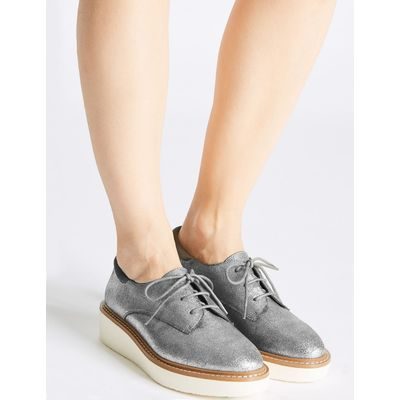 Leather Lace-up Brogue Shoes pewter