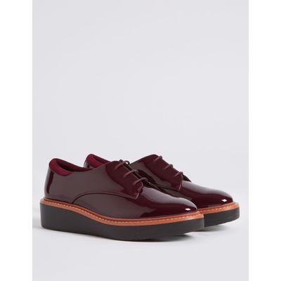 Leather Flatform Brogue Shoes oxblood