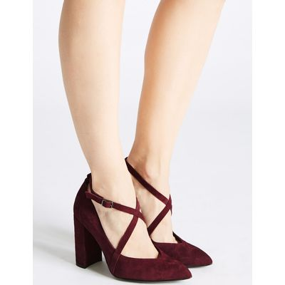 Leather Block Heel Cross Strap Court Shoes berry