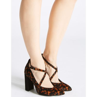 Leather Block Heel Cross Strap Court Shoes brown mix