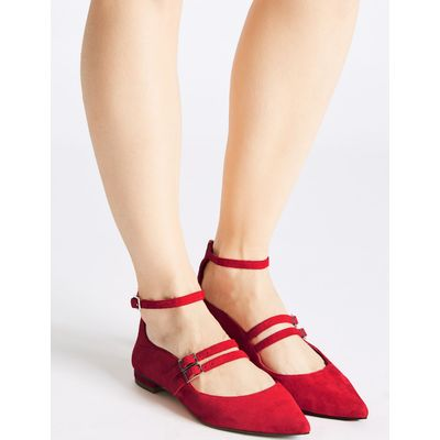 Leather Strap Pump Shoes red
