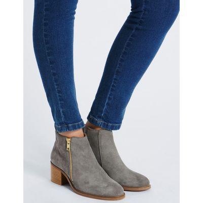 Suede Block Heel Ankle Boots grey