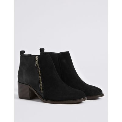 Leather Block Heel Ankle Boots black mix
