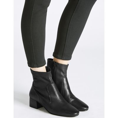 Leather Block Heel Almond Toe Ankle Boots black
