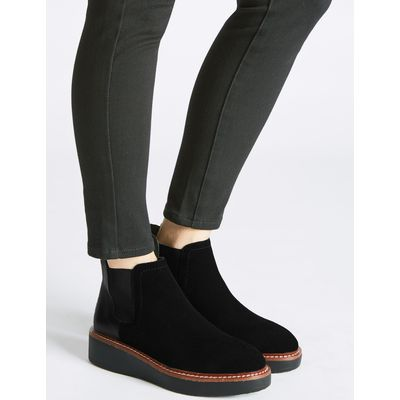 Leather Chelsea Ankle Boots black