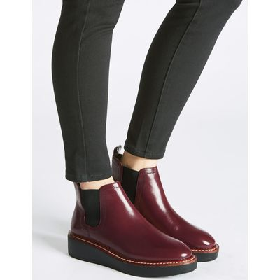 Leather Chelsea Ankle Boots oxblood
