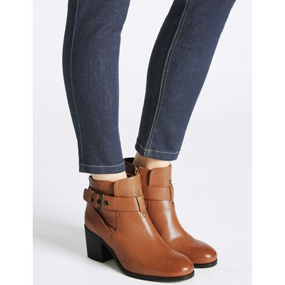 Leather Block Heel Strap Ankle Boots tan