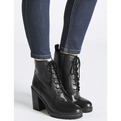 Leather Block Heel Side Zip Ankle Boots black