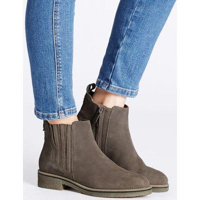 Leather Block Heel Crepe Sole Ankle Boots  grey