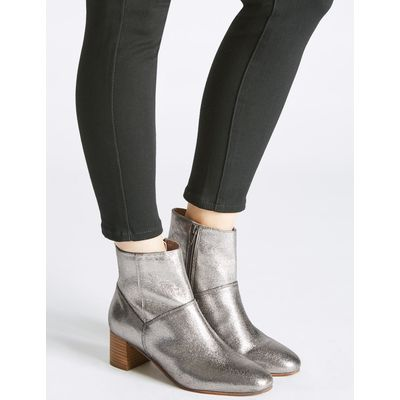Leather Block Heel Panel Ankle Boots silver