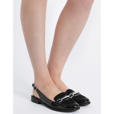 Block Heel Slingback Loafers  black