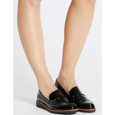 Leather Block Heel Loafers black patent