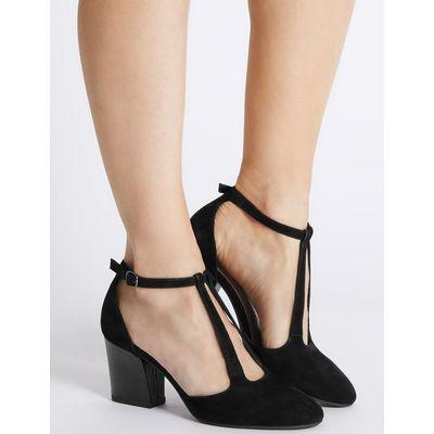 Suede Angular Heel Court Shoes black mix