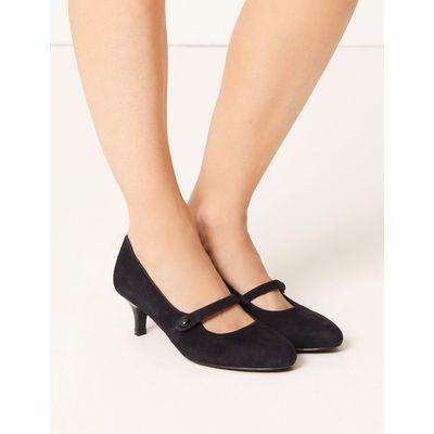 Wide Fit Suede Kitten Heel Court Shoes navy
