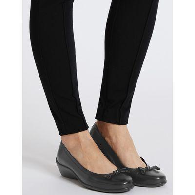Wide Fit Leather Wedge Heel Pump Shoes black
