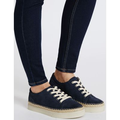 Wide Fit Suede Trainers navy