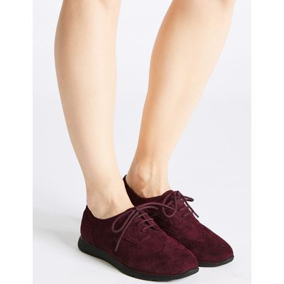 Wide Fit Leather Block Heel Lace-up Brogue burgundy