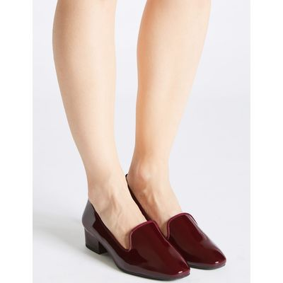 Wide Fit Leather Block Heel Pump Shoes mulberry