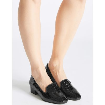 Wide Fit Leather Block Heel Pump Shoes black