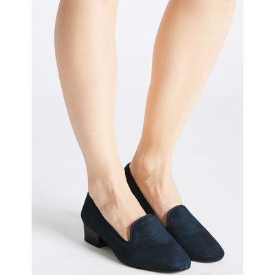 Wide Fit Leather Block Heel Pump Shoes navy