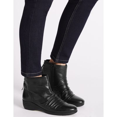 Leather Wedge Tassle Ruched Ankle Boots black