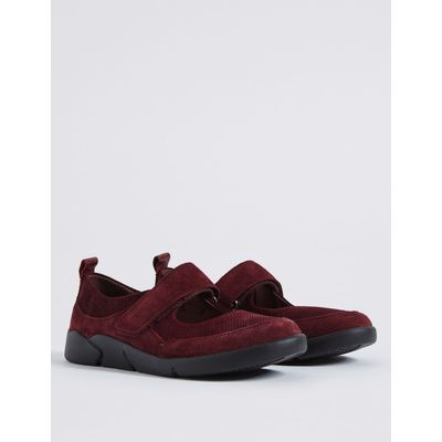 Leather Riptape Court Shoes burgundy