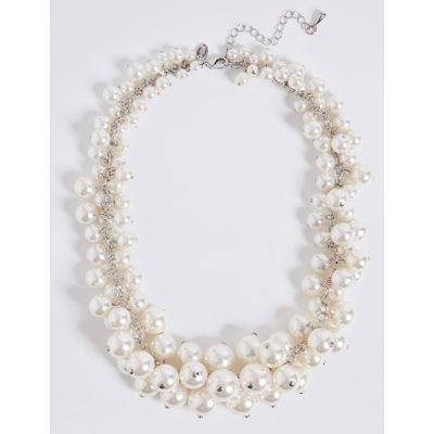 Pearl Effect Cluster Necklace cream mix