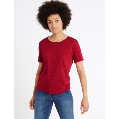 Cotton Blend Burnout Print T-Shirt red