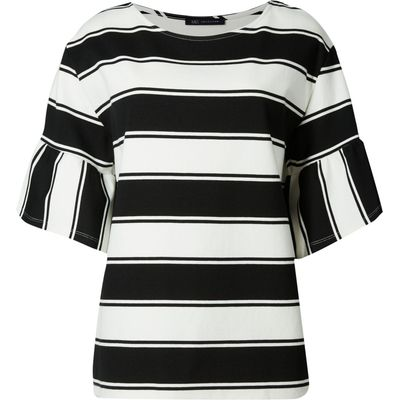PETITE Striped Flare Sleeve T-Shirt black mix