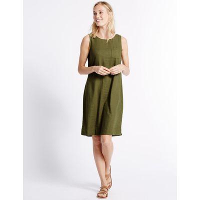 Linen Blend Tunic Dress khaki