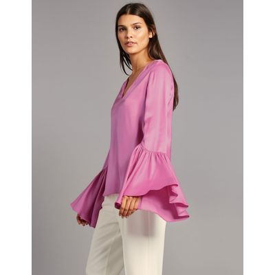 Satin Flared Cuff V-Neck Shell Top pale pink