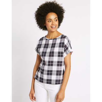 Modal Blend Checked Tie Back Shell Top blue mix