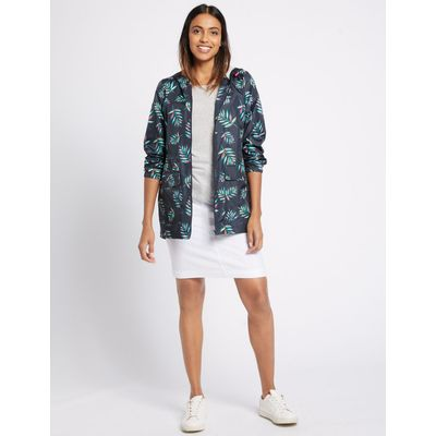 Pack Away Havana Leaf Print Anorak navy mix