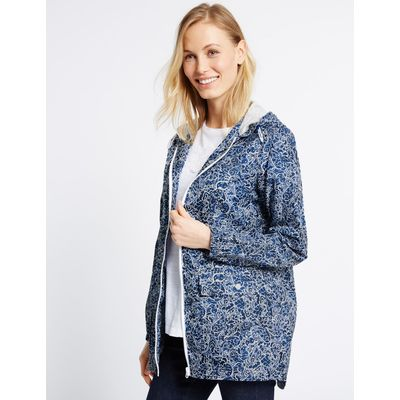 Pack Away Paisley Print Anorak blue/white