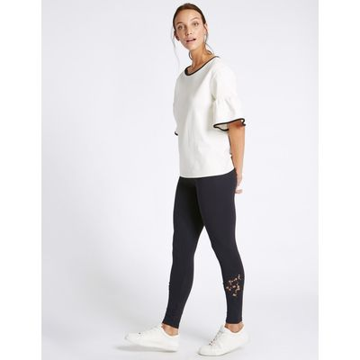 Cotton Rich Cutwork Lace Insert Leggings navy