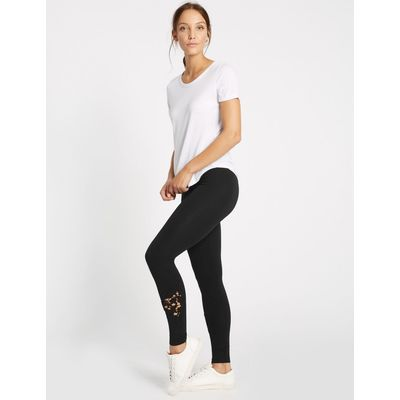 Cotton Rich Cutwork Lace Insert Leggings black