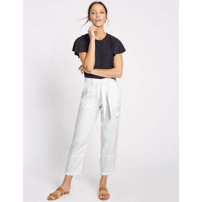 Pure Linen Straight Leg Trousers white