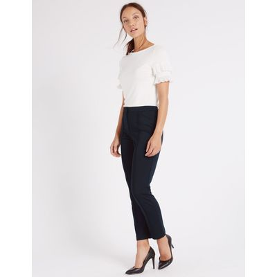 Slim Leg Flat Front Trousers navy