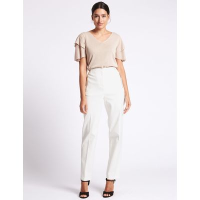 Cotton Blend Straight Leg Trousers soft white