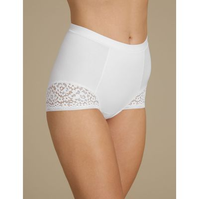 Vintage Lace Low Leg Shapewear Knickers white