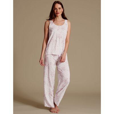Pure Modal Printed Sleeveless Pyjamas cream mix