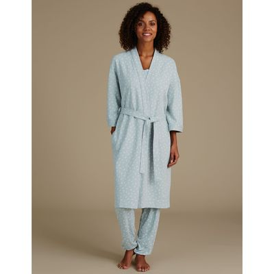 Pure Cotton Leaf Print Waffle Dressing Gown aqua mix