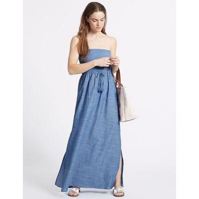Pure Cotton Shirred Maxi Dress chambray